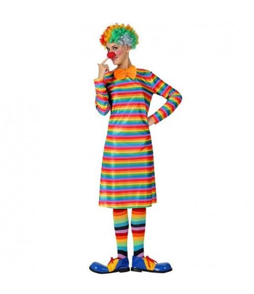 Déguisement Clown à rayures multicolore pour femme
