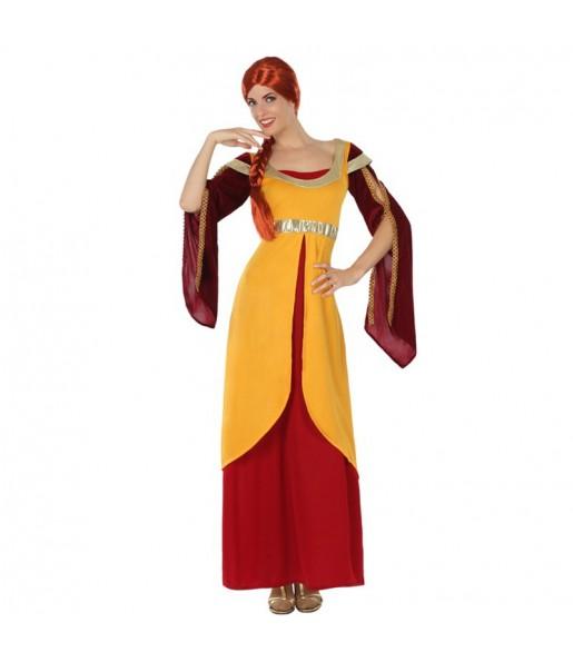 Déguisement Dame Médiévale Orange Adulte