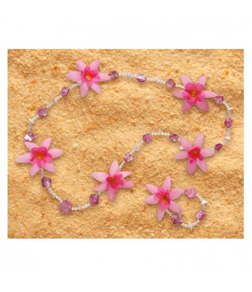 Collier et Bracelet Hawaïen Luxe Rose