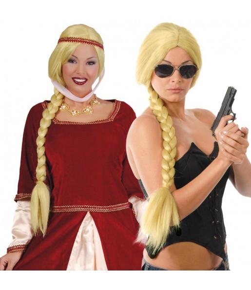 Perruque Médiévale Tresse Blonde