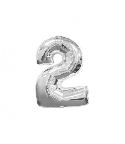 Ballon chiffre 2 – Argent