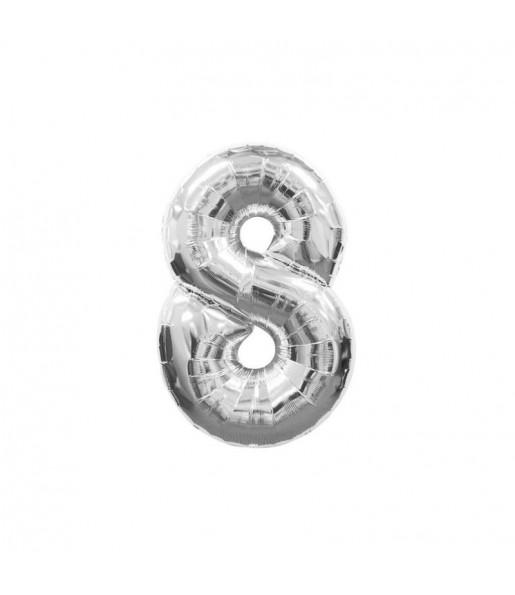 Ballon chiffre 8 – Argent