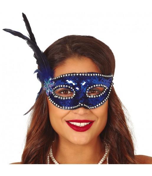 Masque-loup à paillettes bleues avec plume