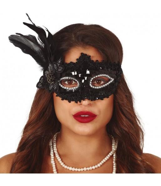 Masque-loup à paillettes noires avec plume