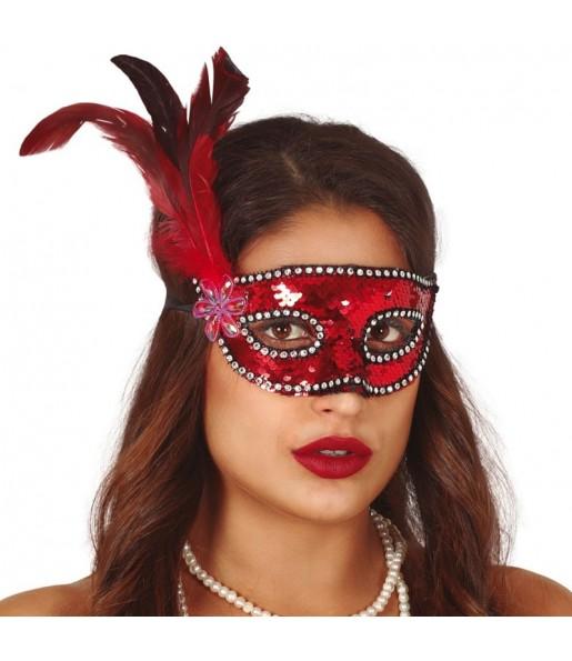 Masque-loup à paillettes rouges avec plume