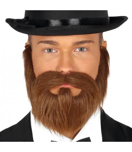 Barbe et moustache chataigne avec élastique