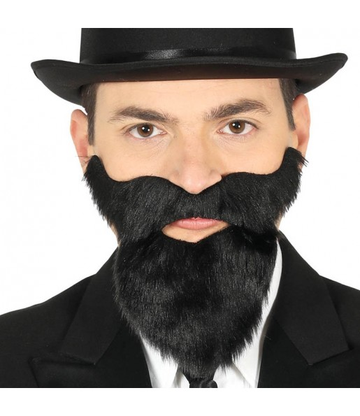 Barbe et moustache noire auto adhésif