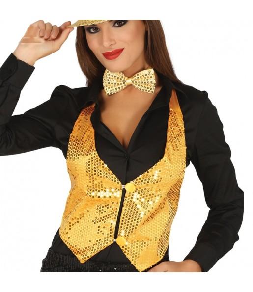 Gilet paillettes doré femme