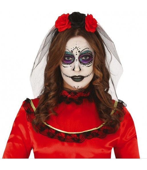 Serre-tête Catrina Mexicaine avec fleurs