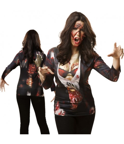 Tee-shirt hyperréaliste Zombie Femme