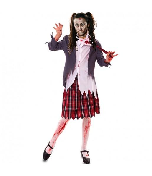 Déguisement Écolière zombie sanglante femme