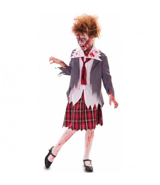 Déguisement Écolière zombie sanglante fille