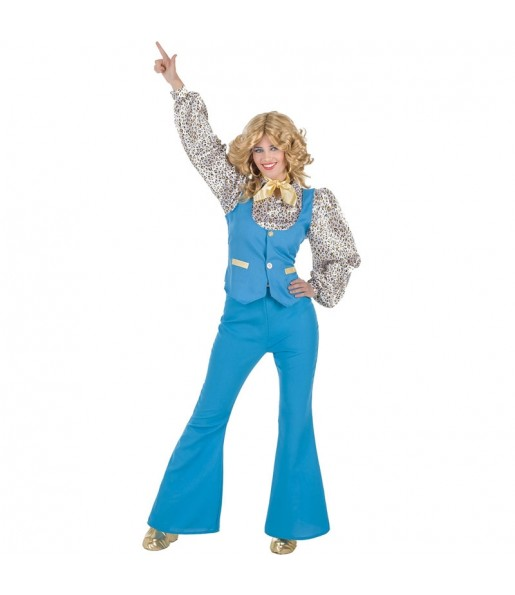 Déguisement Disco Girl bleu femme