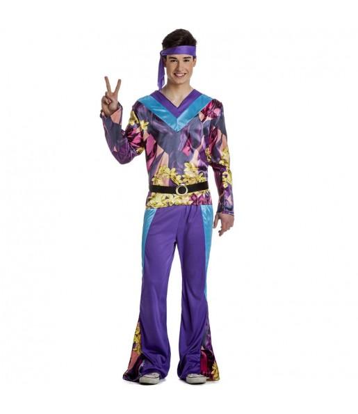 Déguisement Hippie violet homme