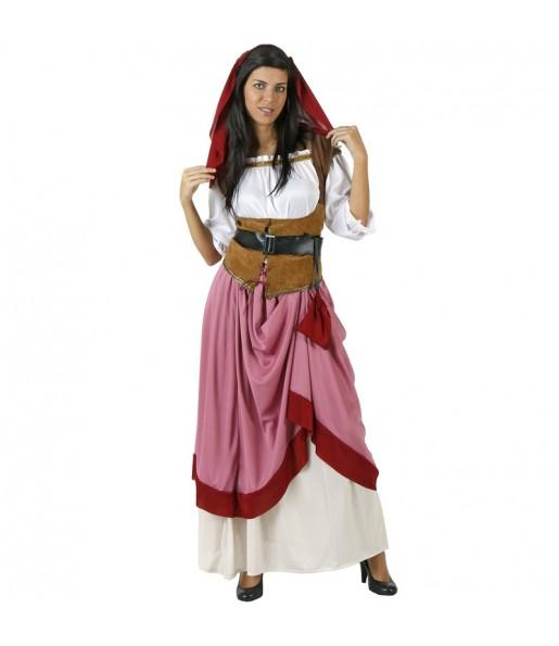 Déguisement Aubergiste médiéval rouge femme