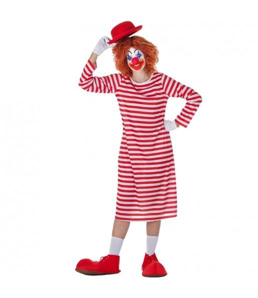 Déguisement Clown à Rayures Blanches et Rouges pour femme