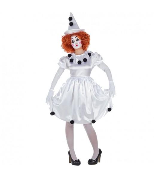 Déguisement Clown Pierrot pour femme