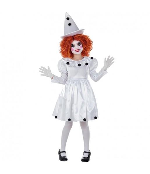 Déguisement Clown Pierrot pour fille