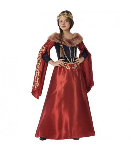 Déguisement Reine Médiévale rouge fille