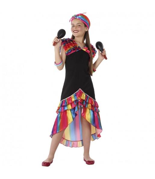 Déguisement Danseuse Rumba Multicolore fille
