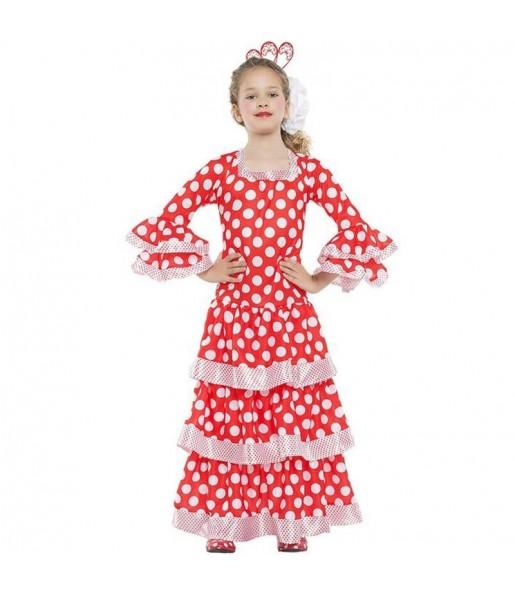 Déguisement Flamenco rouge à pois blancs fille