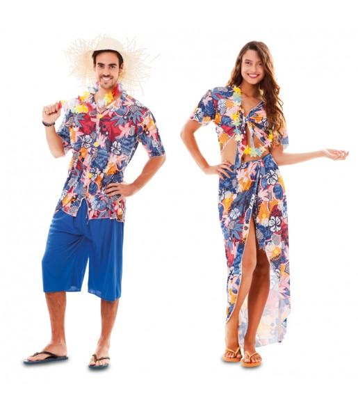 Déguisements Hawaïens Bleus
