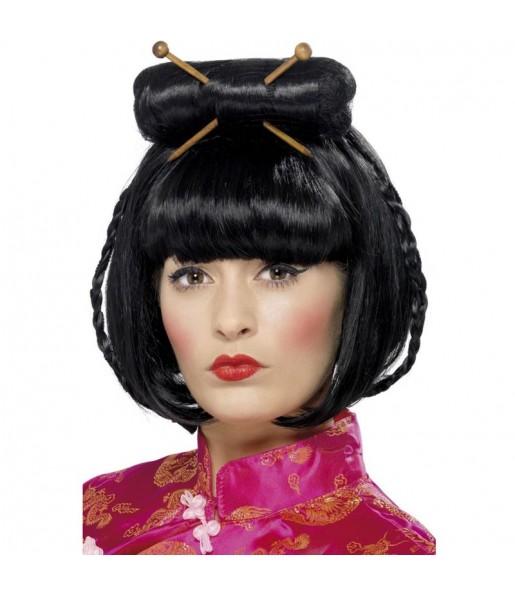 Perruque Chinoise avec baguettes