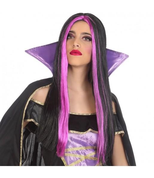 Perruque Halloween avec mèches fuchsia