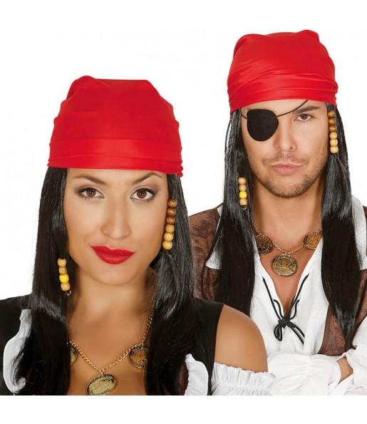 Perruque Pirate des Caraïbes avec bandeau