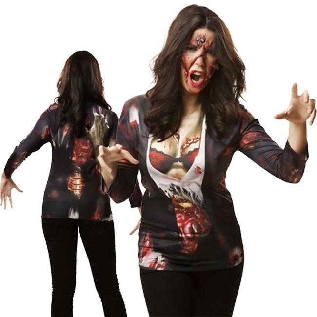 Adulte Femmes Zombie Femelle T-Shirt Femme Halloween Femme Costume Robe Fantaisie 12-18