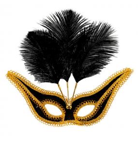 Masque Noir avec Bordure et Plumes