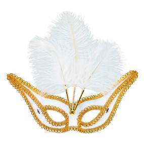 Masque Blanc avec Bordure et Plumes