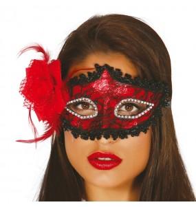 Masque Loup Rouge avec Rose
