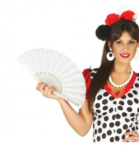Éventail Flamenco Blanc