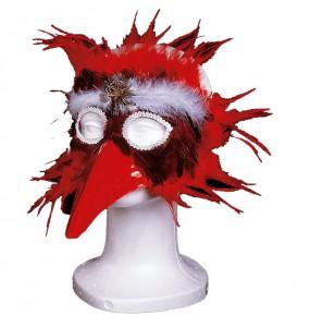 Masque avec Plumes - Rouge