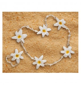 Collier et Bracelet Hawaïen Luxe Blanc