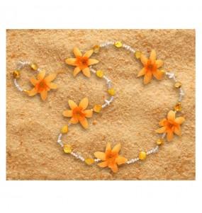 Collier et Bracelet Hawaïen Luxe Orange