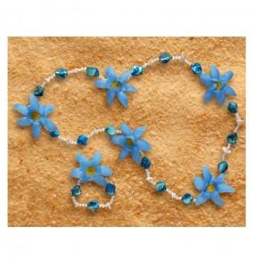 Collier et Bracelet Hawaïen Luxe Bleu