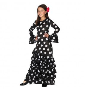 Déguisement Flamenco Noir à pois blancs pour fille