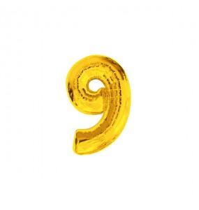 Ballon chiffre 9 - Or