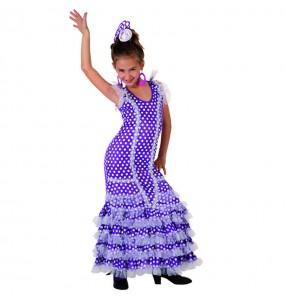 Déguisement Flamenco (Sévillane) Violet enfant