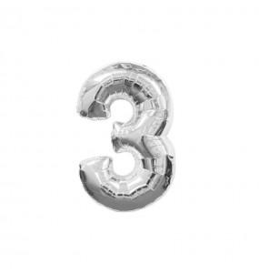 Ballon chiffre 3 – Argent