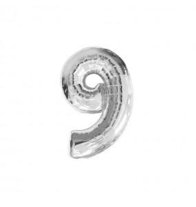 Ballon chiffre 9 - Argent