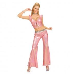 Déguisement Pantalon Holographique rose