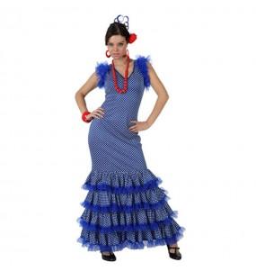 Déguisement Flamenco (Sévillane) Bleu à pois Blancs adulte