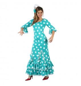 Déguisement Flamenco (Sévillane) Turquoise femme