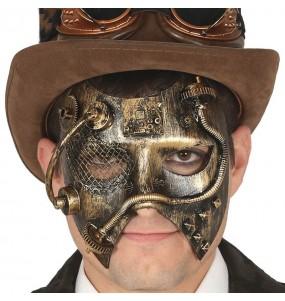Masque Loup Steampunk doré