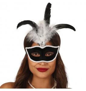 Masque-loup à velours Noir avec plume