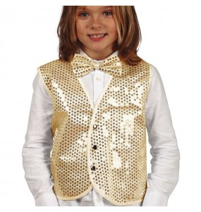 Gilet doré à paillettes pour enfant