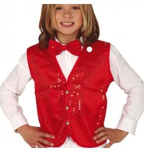 Gilet rouge à paillettes pour enfant